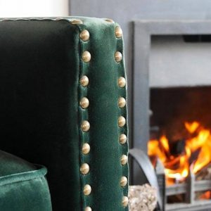 Wilton Green Wingback Chair Close Up
