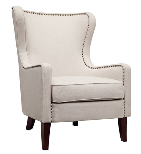 Orson Natural Wingback Chair Angle