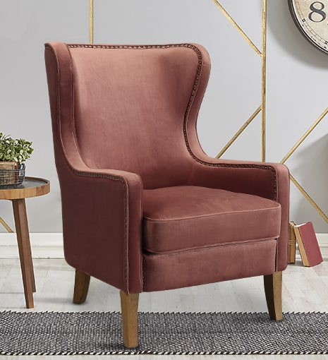 Orson Wingback Chair Vintage Rose