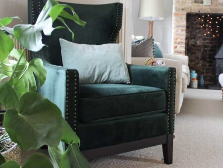 Wilton Green Wingback Chair