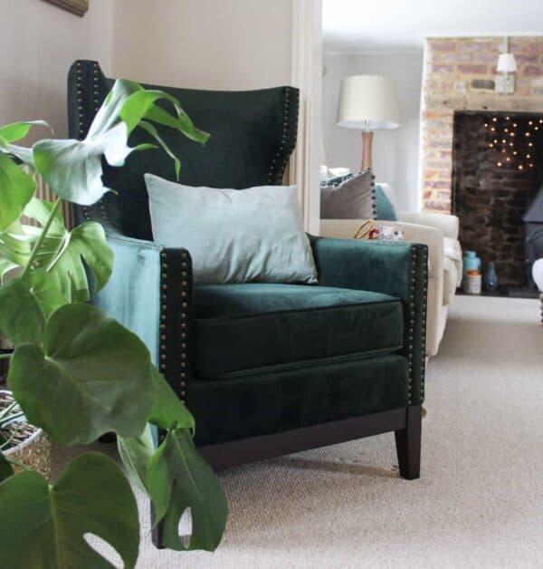 Wilton Green Wingback Chair