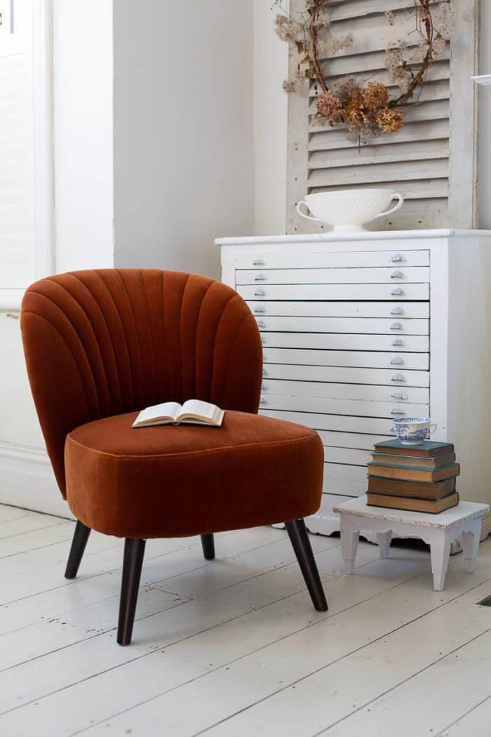 Evie Orange Velvet Chair With Book