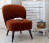Evie Orange Velvet Chair With Book