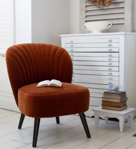 Surprising Evie Burnt Orange Velvet Cocktail Chair Julian Joseph Squirreltailoven Fun Painted Chair Ideas Images Squirreltailovenorg