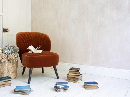 Evie Burnt Orange Velvet Chair Books