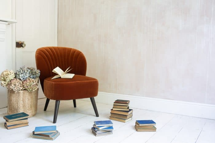 Evie Burnt Orange Velvet Chair Books