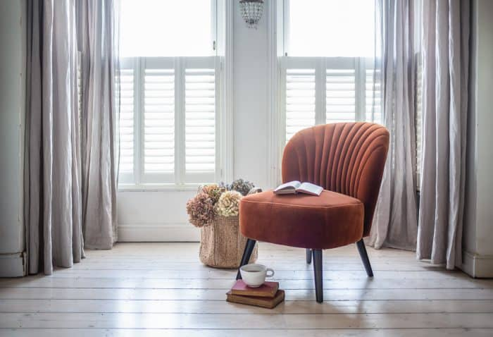Evie Burnt Orange Velvet Chair Window