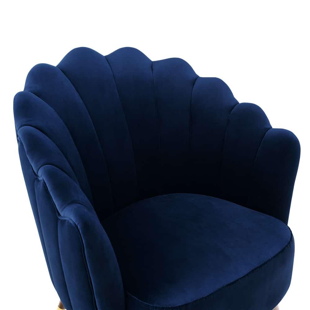 Camille Blue Velvet Scalloped Chair