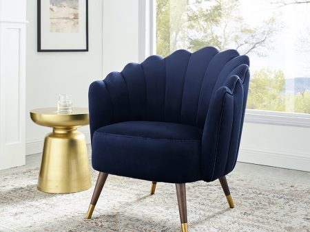 Camille Blue Velvet Scalloped Chair