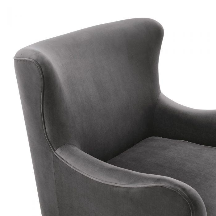 Heath Mushroom Grey Velvet Armchair