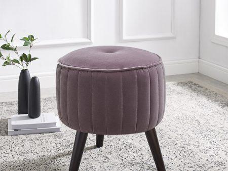 Isla Lilac Grey Velvet Ottoman