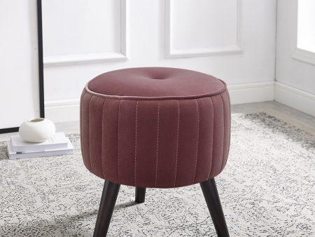 Isla Berry Pink Velvet Ottoman