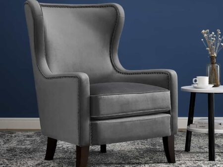 Orson Feather Grey Velvet Chair