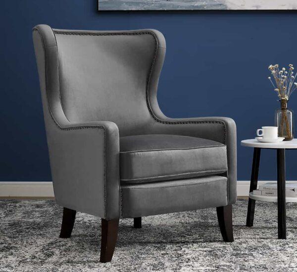 Orson Feather Grey Velvet Chair