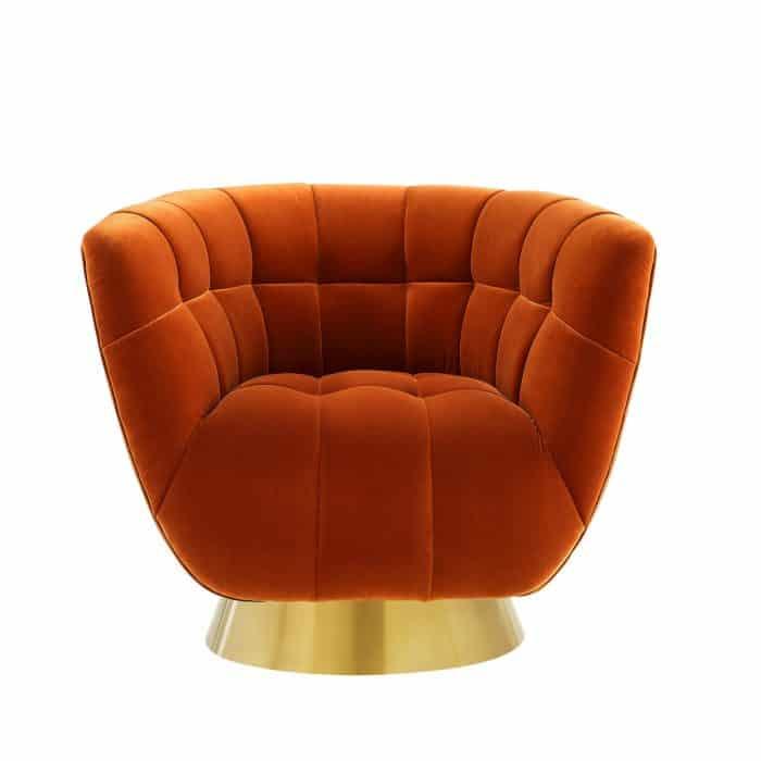 Darcy Burnt Orange Velvet Swivel Chair