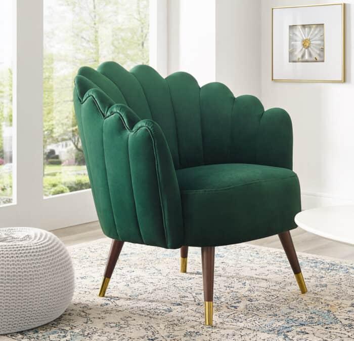 Camille Emerald Green Velvet Scalloped Chair