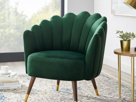 Camille Emerald Green Velvet Scalloped Chair