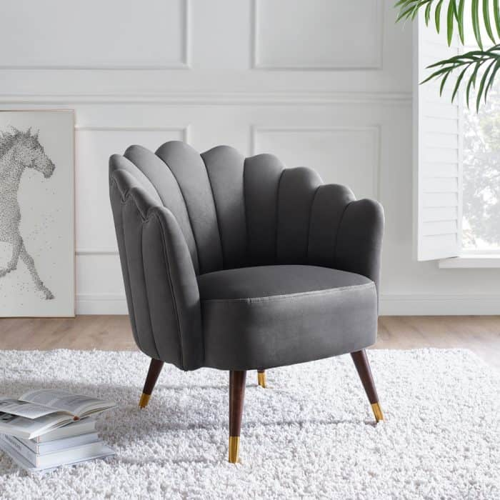 Camille Feather Grey Velvet Scalloped Chair