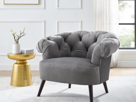 Eversley Feather Grey Velvet Armchair