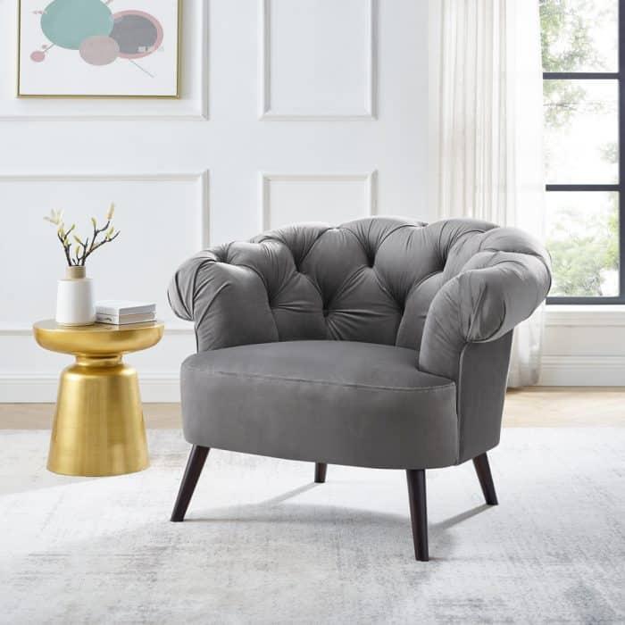 Eversley Feather Grey Velvet Armchair