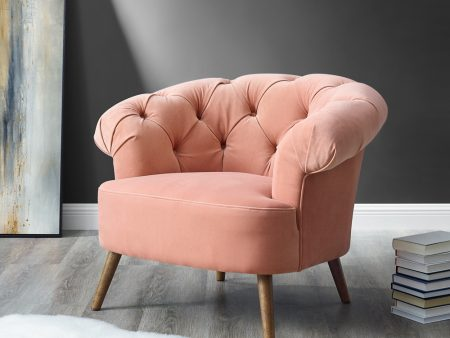 Eversley Blush Pink Velvet Armchair