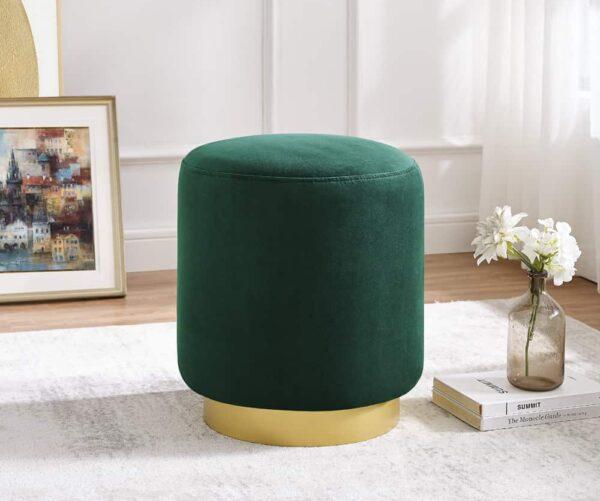 Lola Emerald Green Velvet Ottoman