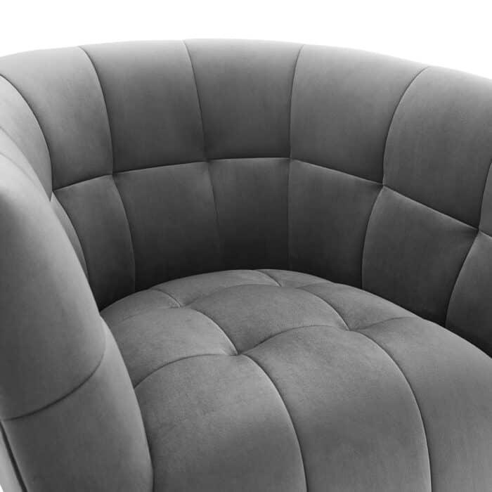 Darcy Feather Grey Velvet Swivel Chair