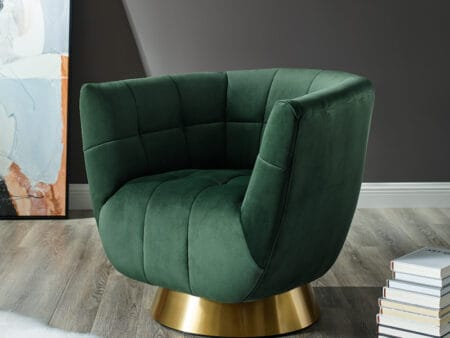 Darcy Emerald Green Velvet Swivel Chair