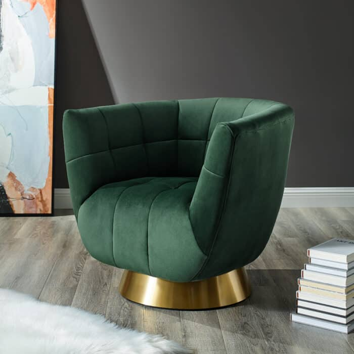 Darcy Emerald Green Velvet Swivel Chair