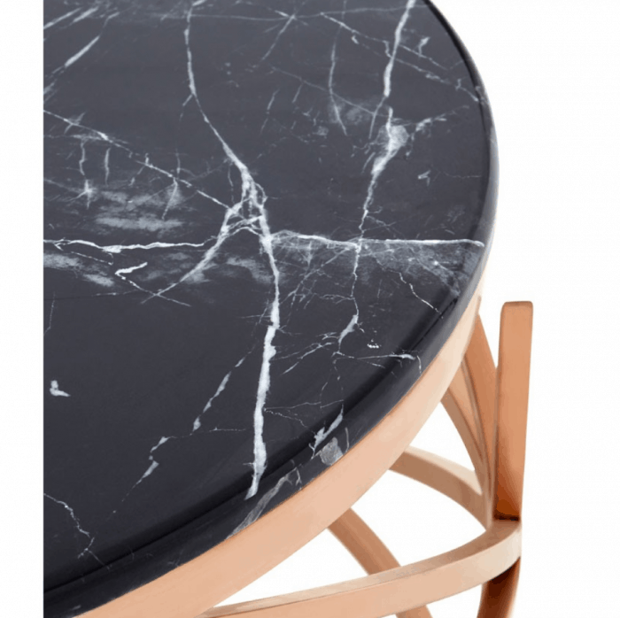 Mila Rose Gold Marble Round Coffee Table