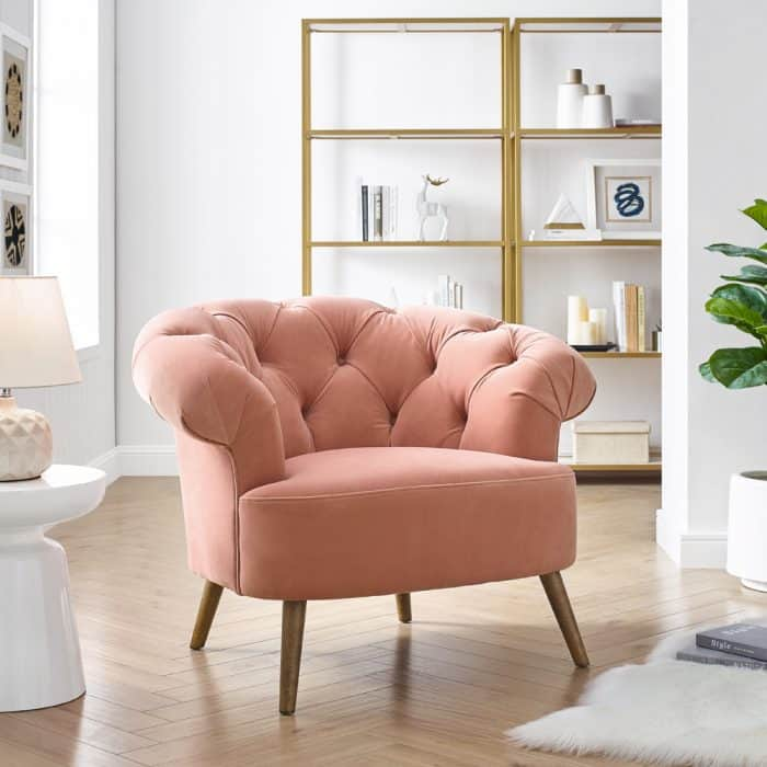 Eversley Blush Pink Velvet Chair