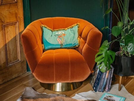 Darcy Burnt Orange Velvet Chair