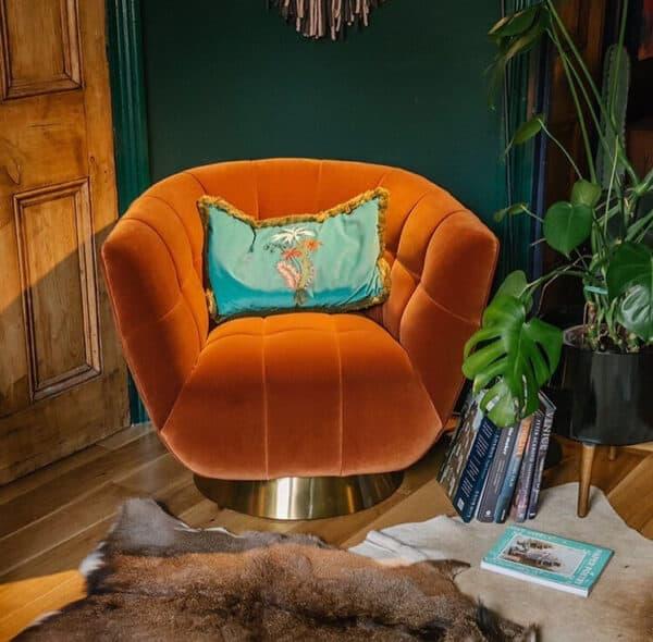 Darcy Burnt Orange Velvet Chair