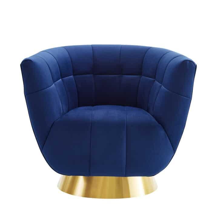 Darcy Sapphire Blue Velvet Scalloped Chair