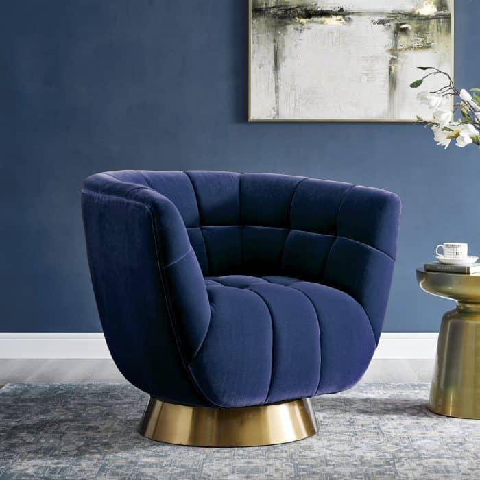Darcy Sapphire Blue Velvet Swivel Chair