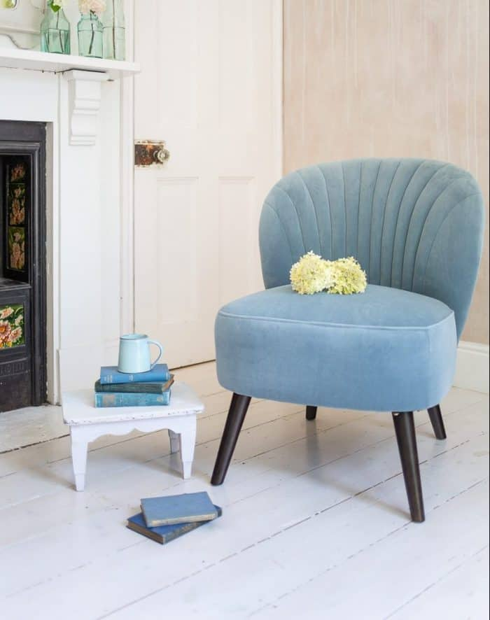 Evie Powder Blue Velvet Chair
