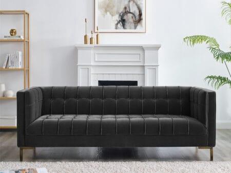 Isabella Grey Velvet Sofa