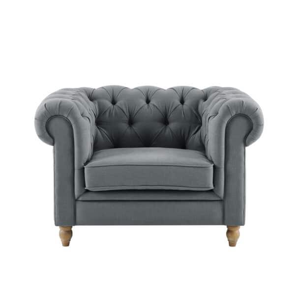 Amelia Grey Linen Chesterfield Armchair