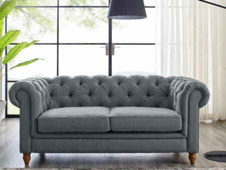 Amelia Grey Linen Two Seater Chesterfield Sofa