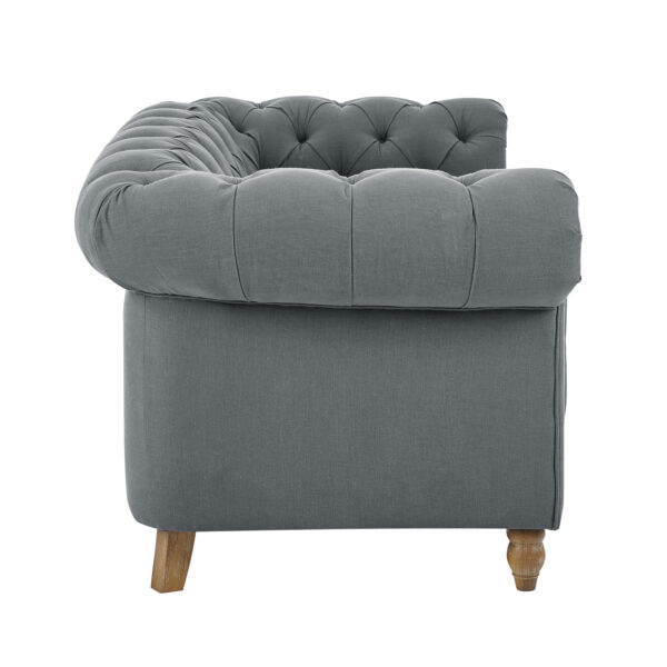 Amelia Grey Linen Two Seater Chesterfield