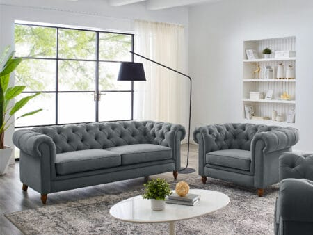 Amelia Grey Linen Chesterfield Sofa