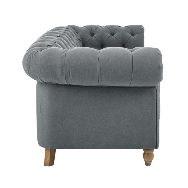 Amelia Grey Linen Chesterfield Sofa