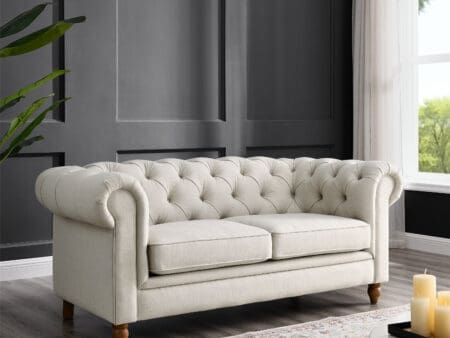 Amelia Natural Linen Two Seater Chesterfield Sofa
