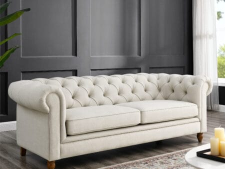Amelia Oatmeal Linen Chesterfield Three Seater Sofa
