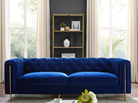 Charlotte Persian Blue Velvet Three Seater Sofa