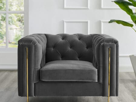 Charlotte Moonlight Grey Velvet Armchair