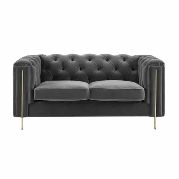 Charlotte Moonlight Grey Velvet Two Seater Sofa