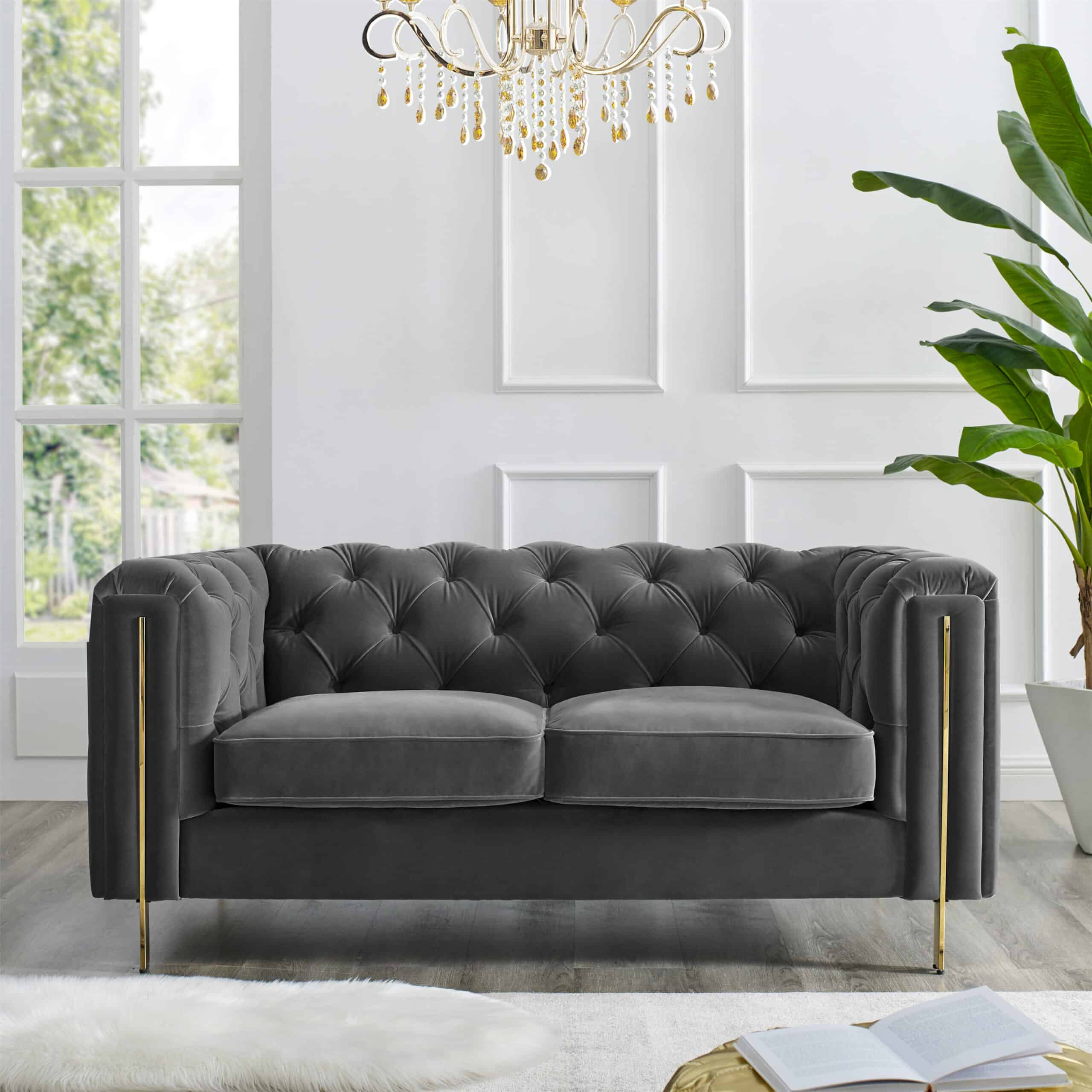 Charlotte Moonlight Grey Velvet Two Seater Sofa