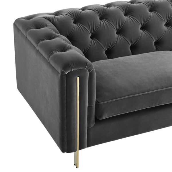 Charlotte Moonlight Grey Velvet Three Seater Sofa