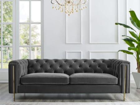 Charlotte Moonlight Grey Velvet Three Seater Sofa